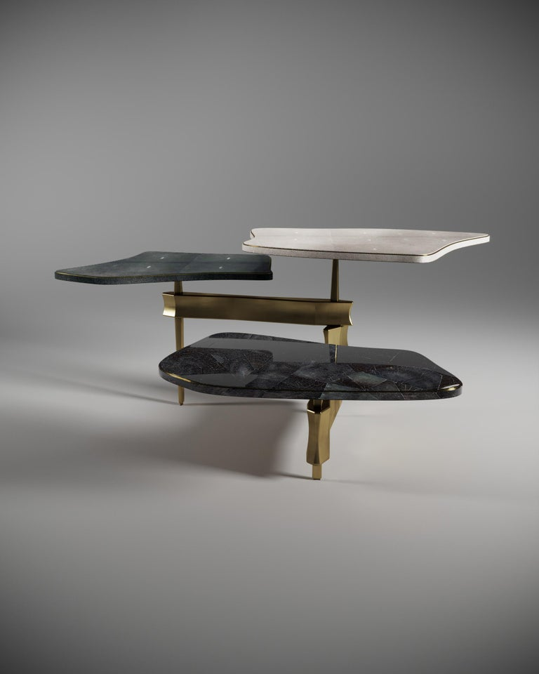 Shagreen Side Table with Bronze Patina Brass Accents by Kifu Paris For Sale 3