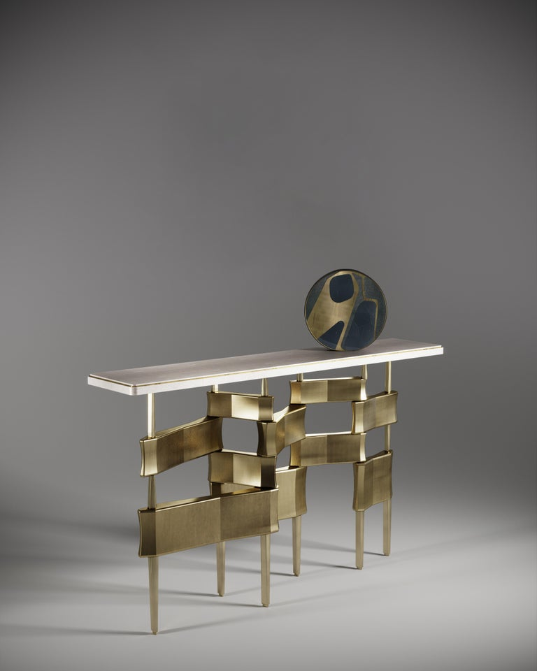 Shagreen Side Table with Bronze Patina Brass Accents by Kifu Paris For Sale 4