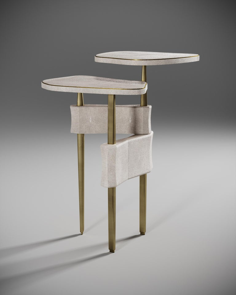 Art Deco Shagreen Side Table with Bronze Patina Brass Accents by Kifu Paris For Sale