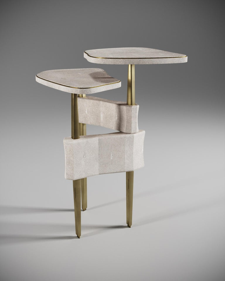 French Shagreen Side Table with Bronze Patina Brass Accents by Kifu Paris For Sale