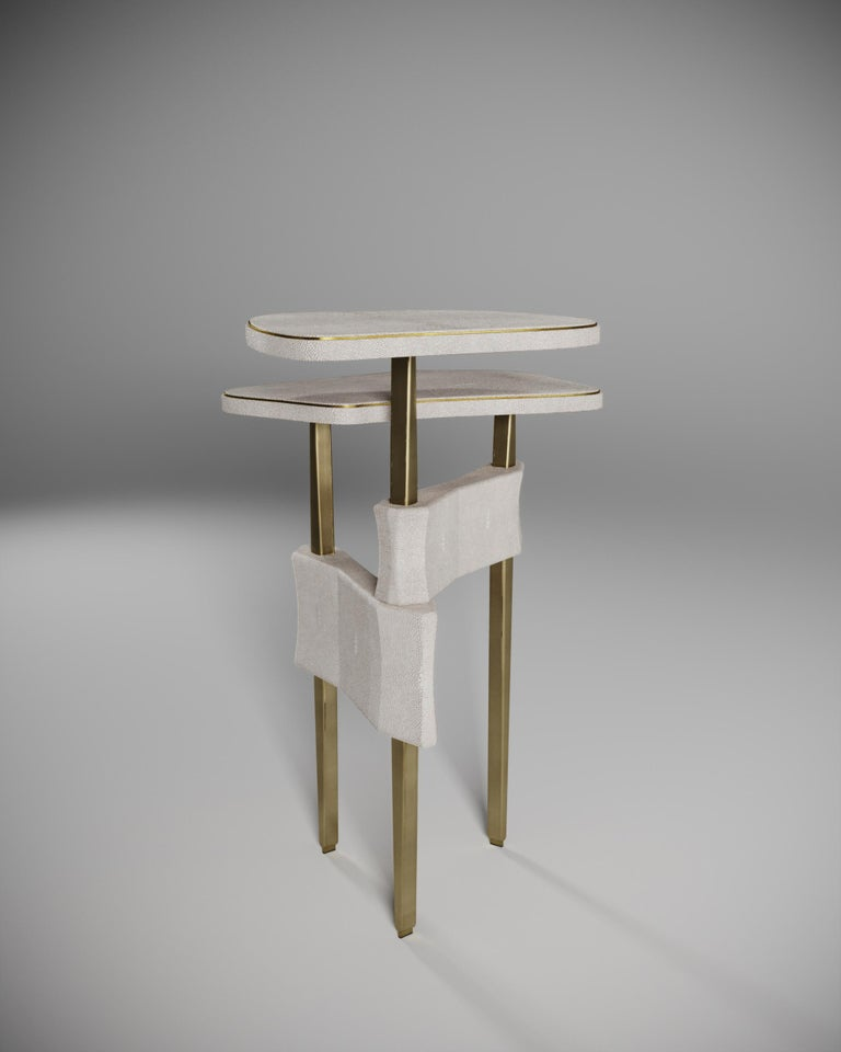 Hand-Crafted Shagreen Side Table with Bronze Patina Brass Accents by Kifu Paris For Sale
