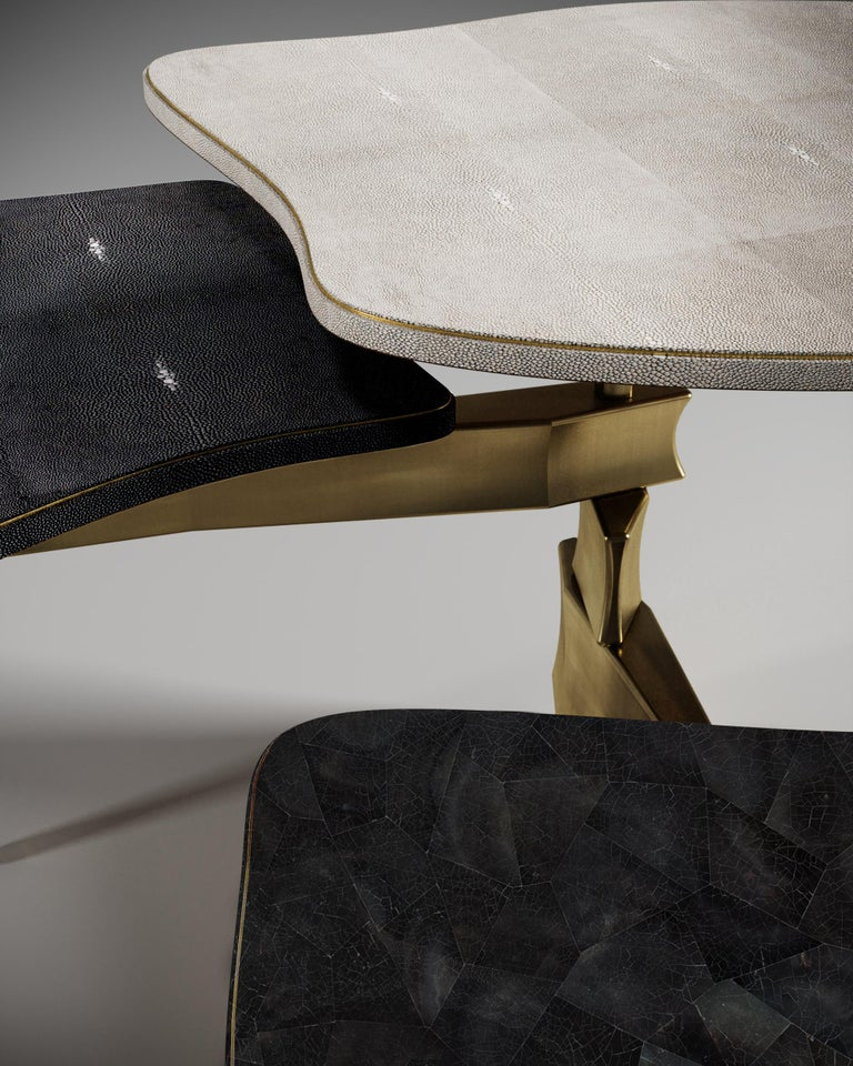 Shagreen Side Table with Bronze Patina Brass Accents by Kifu Paris For Sale 1