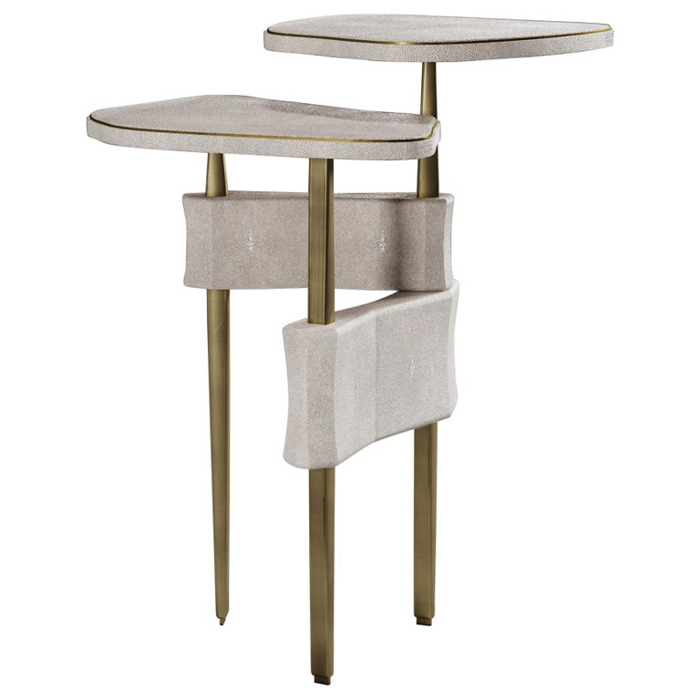 Shagreen Side Table with Bronze Patina Brass Accents by Kifu Paris For Sale