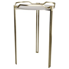 Shagreen Side Table with Bronze-Patina Brass Cut Out Legs by R & Y Augousti