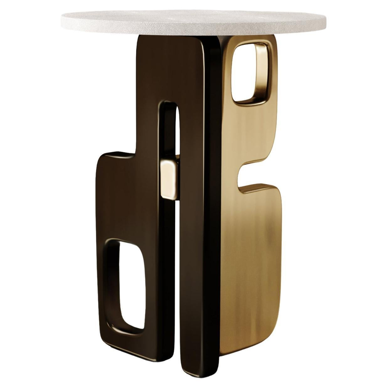 Shagreen Side Table with Bronze Patina Brass Details by Kifu Paris