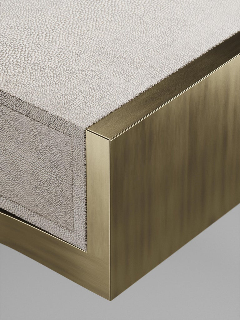 Shagreen Side Table with Bronze-Patina Brass Details by R&Y Augousti For Sale 3
