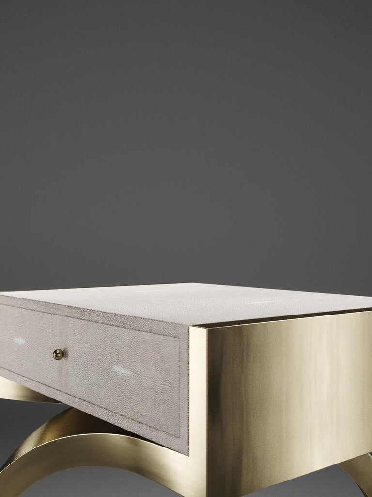 Shagreen Side Table with Bronze-Patina Brass Details by R&Y Augousti For Sale 5