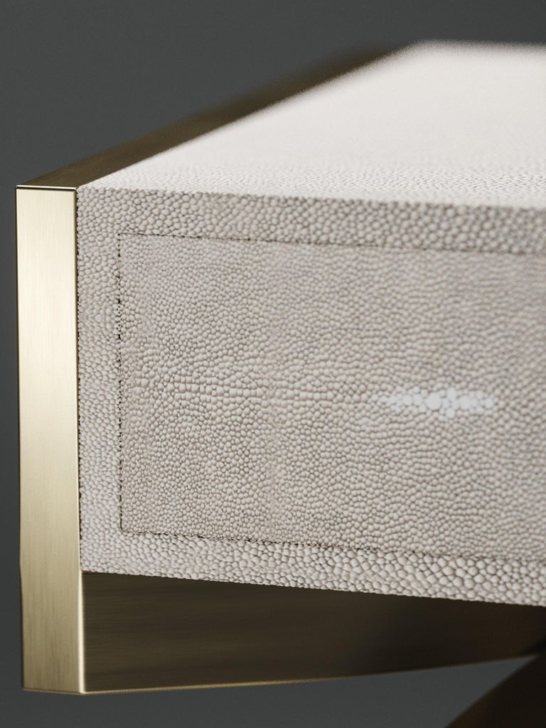 Shagreen Side Table with Bronze-Patina Brass Details by R&Y Augousti For Sale 9