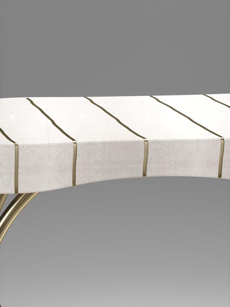 Art Deco Shagreen Side Table with Bronze-Patina Brass Details by R&Y Augousti For Sale
