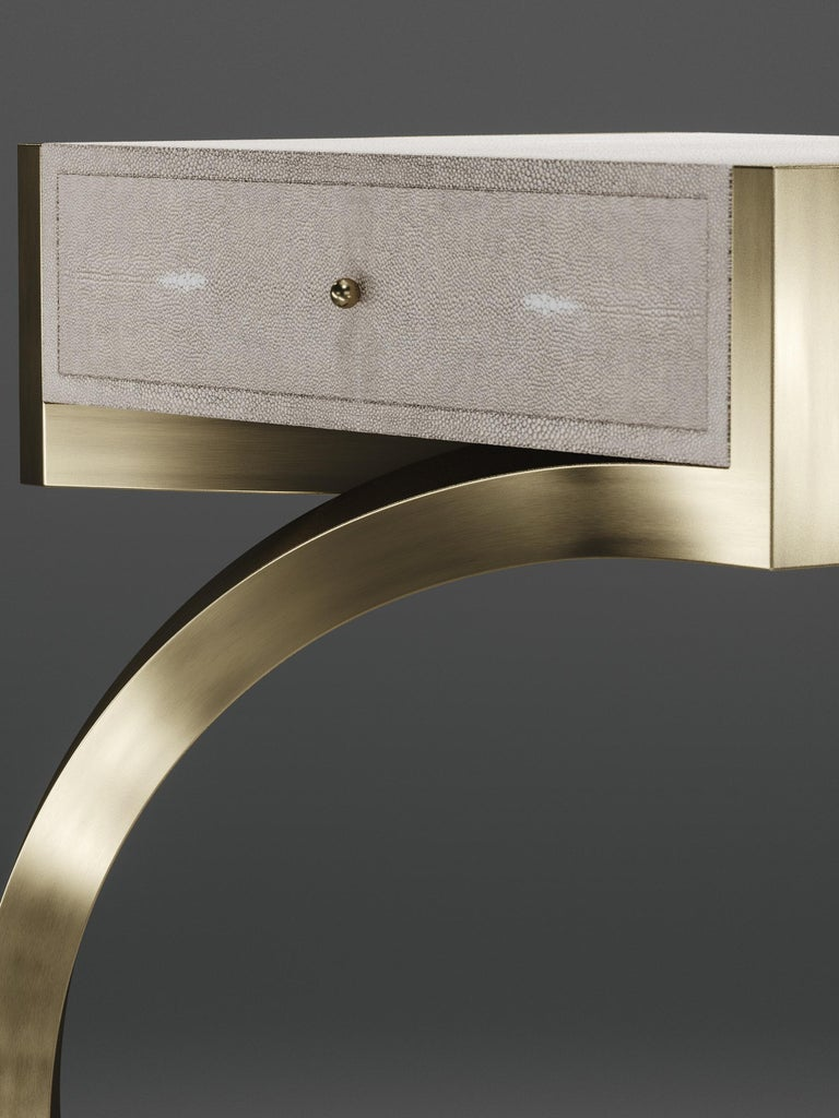 French Shagreen Side Table with Bronze-Patina Brass Details by R&Y Augousti For Sale