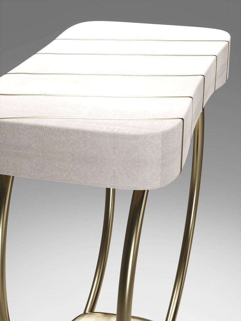 Hand-Crafted Shagreen Side Table with Bronze-Patina Brass Details by R&Y Augousti For Sale