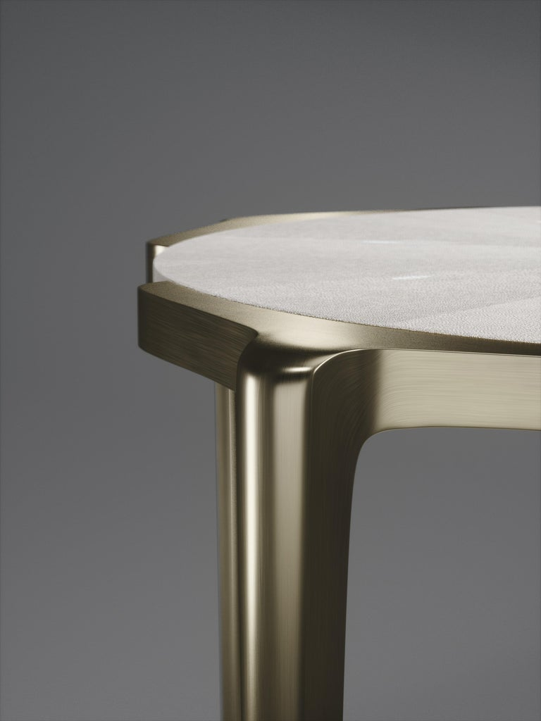 Shagreen Side Table with Bronze-Patina Brass Details by R&Y Augousti In New Condition For Sale In New York, NY