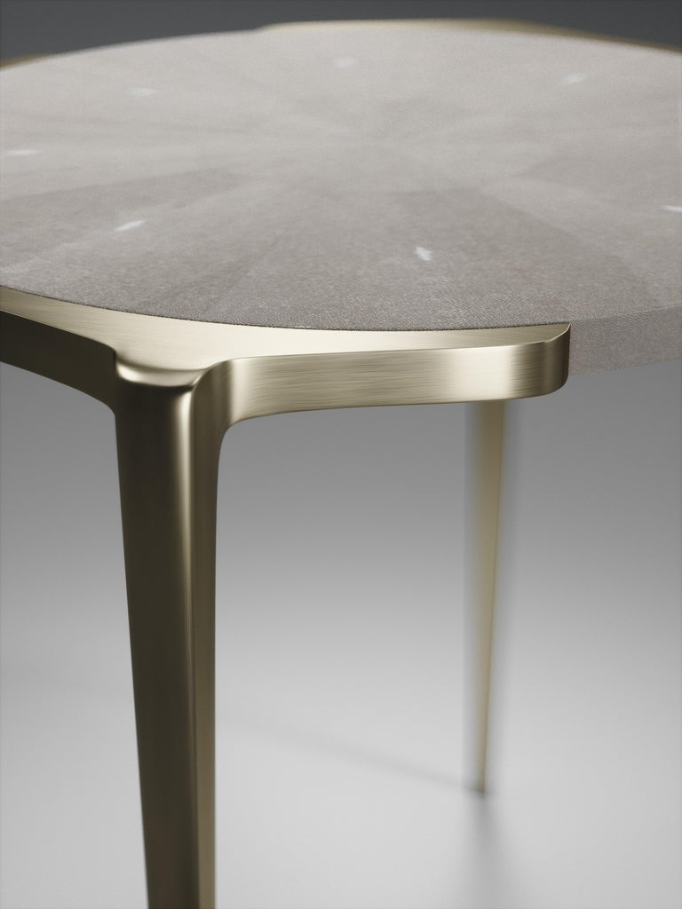 Contemporary Shagreen Side Table with Bronze-Patina Brass Details by R&Y Augousti For Sale