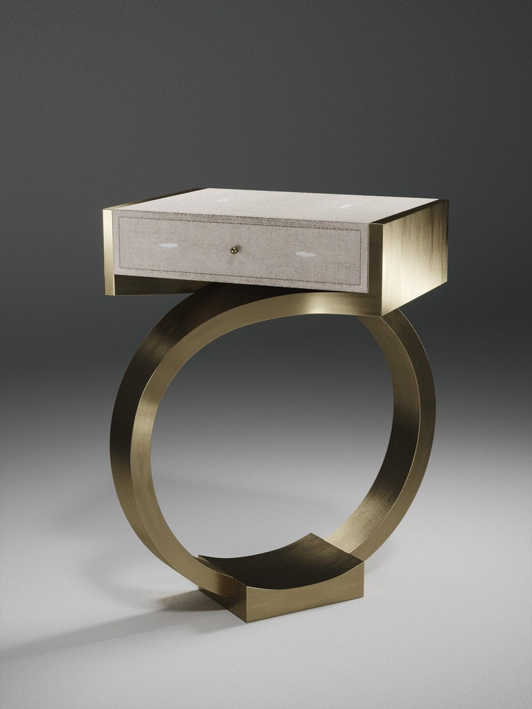 Shagreen Side Table with Bronze-Patina Brass Details by R&Y Augousti For Sale 1