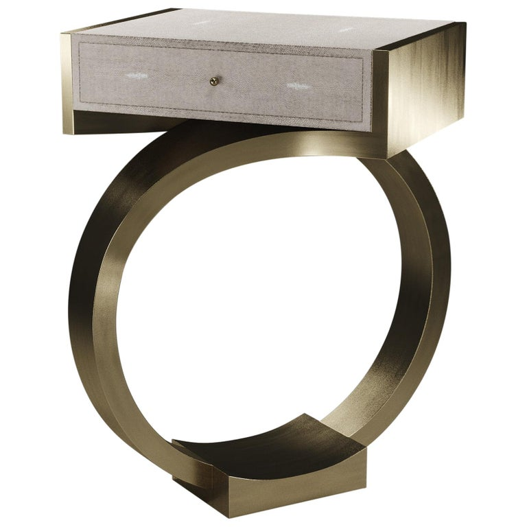 Shagreen Side Table with Bronze-Patina Brass Details by R&Y Augousti For Sale