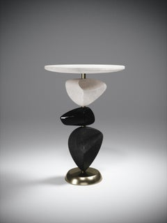 Shagreen Side Table with Mobile Sculptural Parts and Brass Accents by Kifu Paris