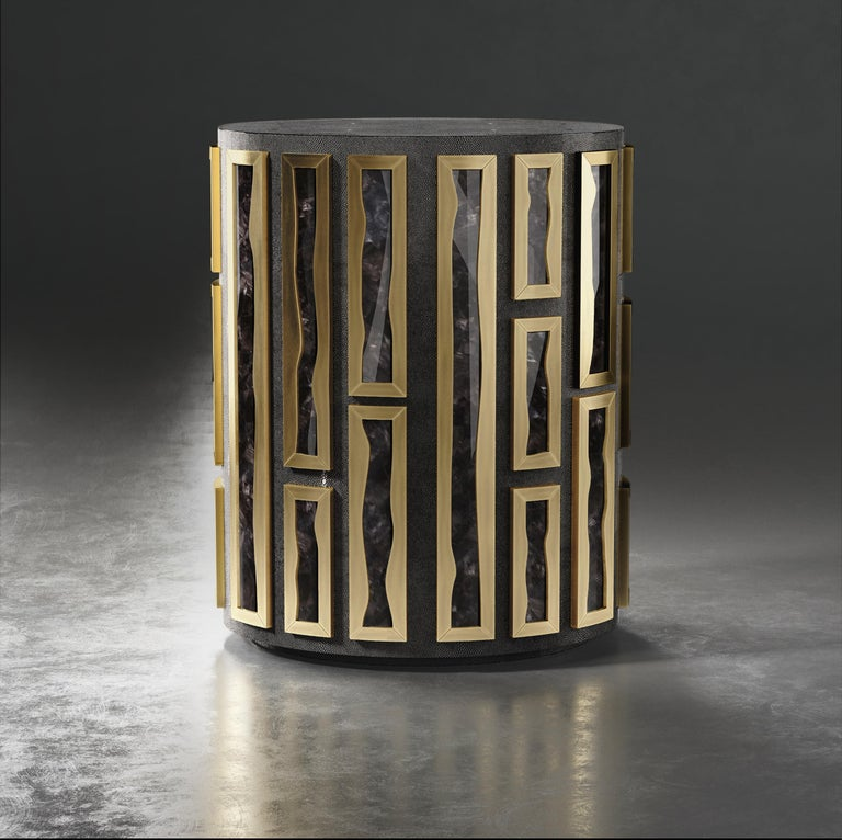 Art Deco Shagreen Side Table with Quartz and Bronze-Patina Brass Details by R&Y Augousti For Sale