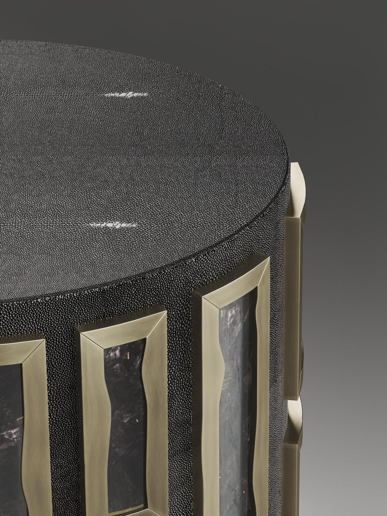 French Shagreen Side Table with Quartz and Bronze-Patina Brass Details by R&Y Augousti For Sale