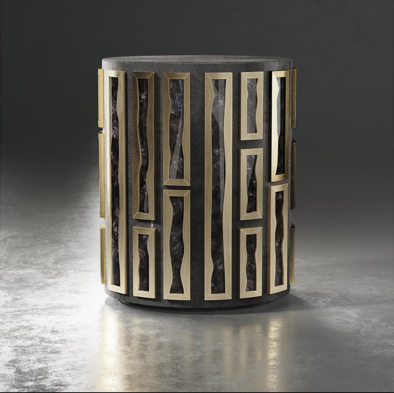Hand-Crafted Shagreen Side Table with Quartz and Bronze-Patina Brass Details by R&Y Augousti For Sale