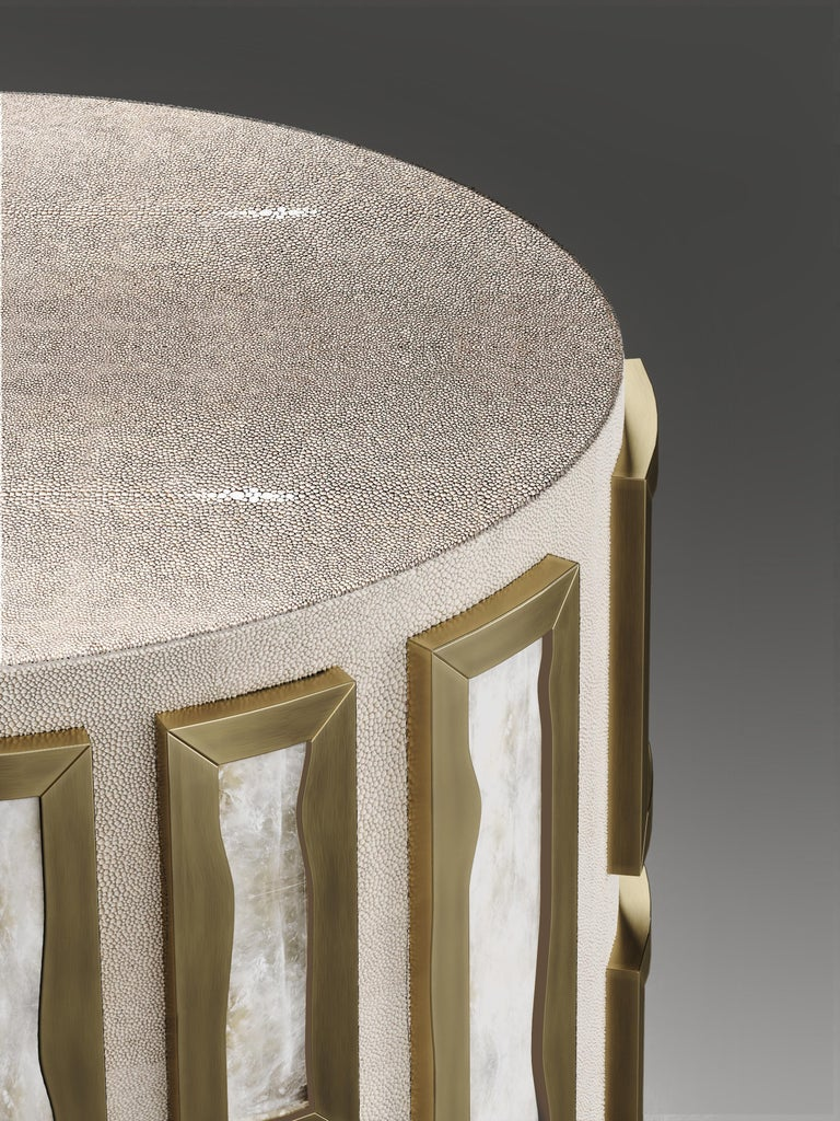 Contemporary Shagreen Side Table with Quartz and Bronze-Patina Brass Details by R&Y Augousti For Sale