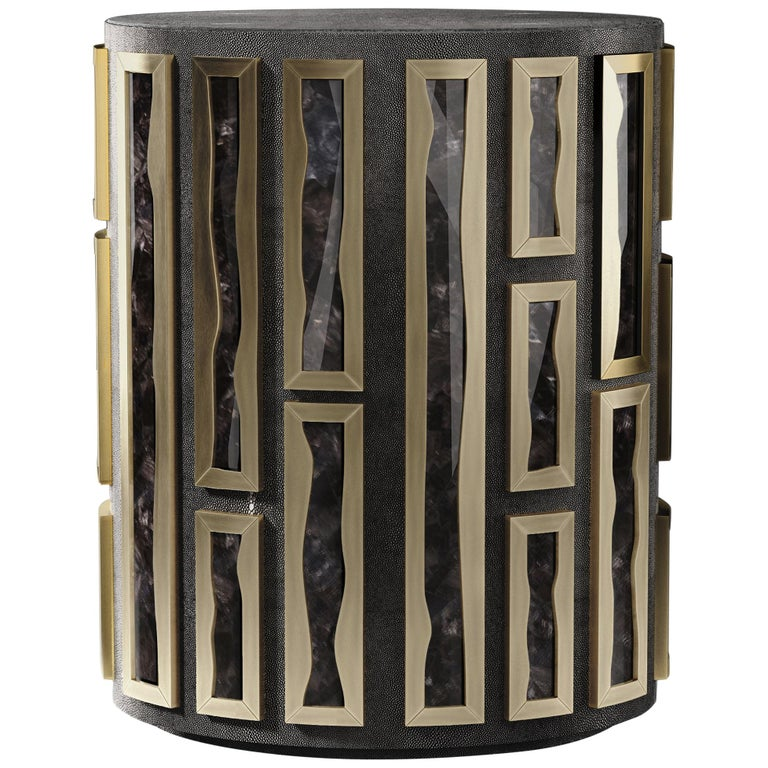 Shagreen Side Table with Quartz and Bronze-Patina Brass Details by R&Y Augousti For Sale