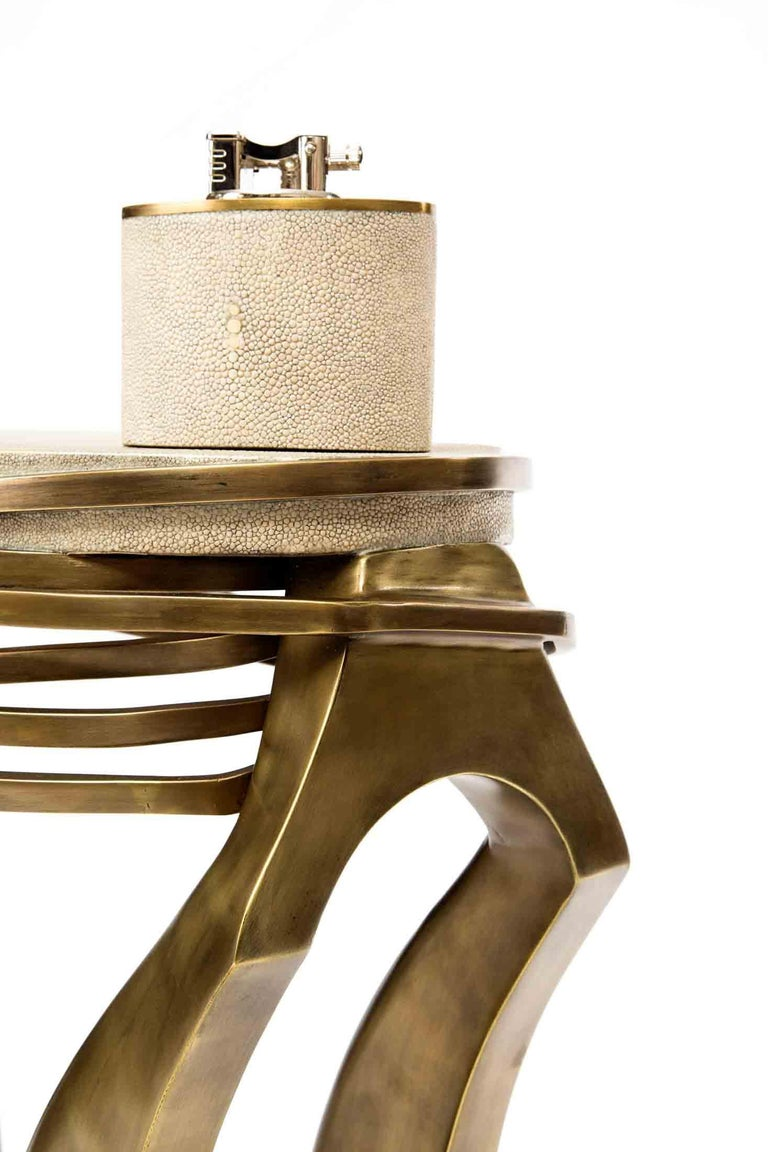 Hand-Crafted Shagreen Side Table with Sculptural Bronze-Patina Brass Details by Kifu Paris For Sale