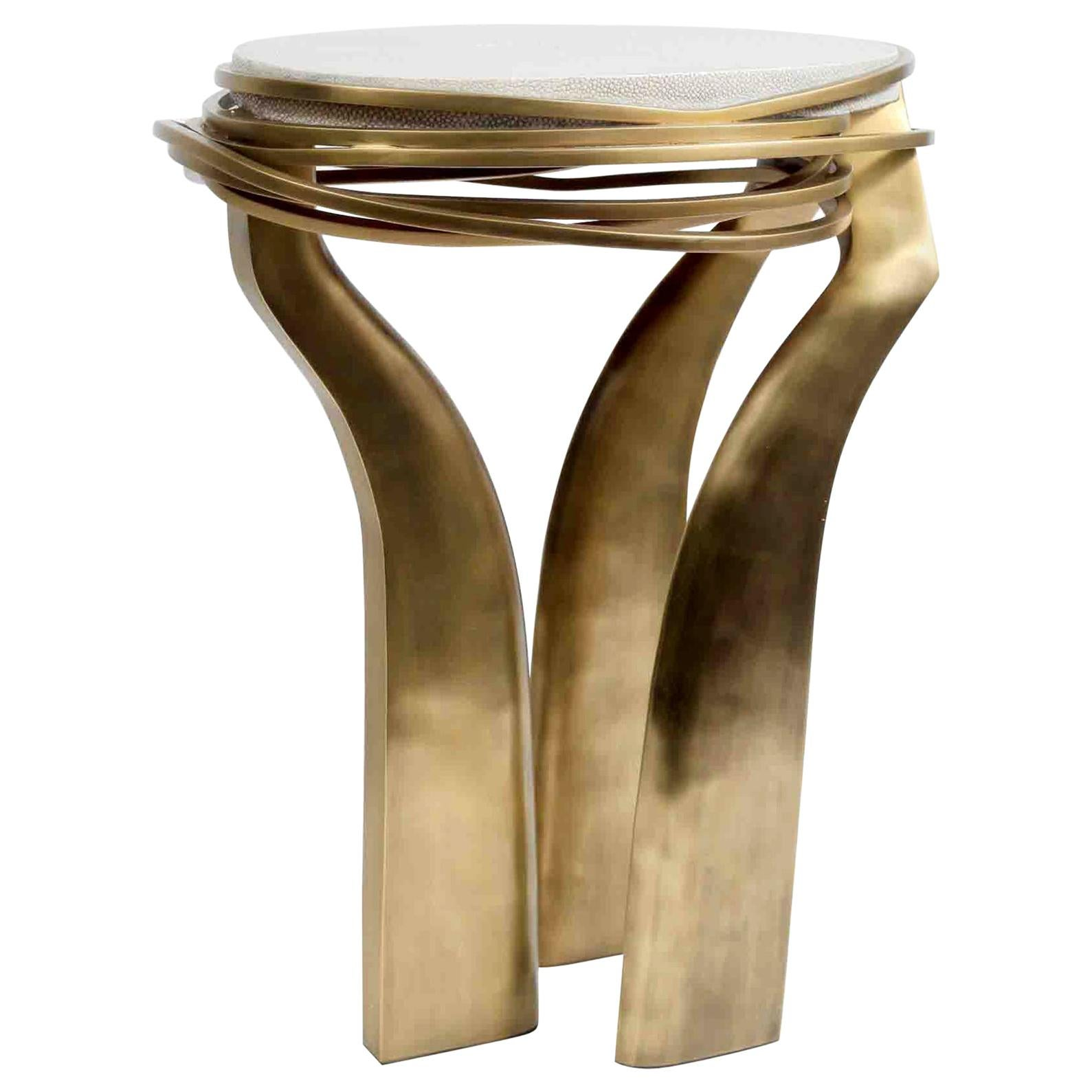 Shagreen Side Table with Sculptural Bronze-Patina Brass Details by Kifu Paris