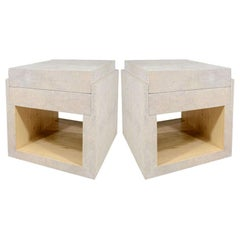 Shagreen Side Tables, Nightstands, Cream