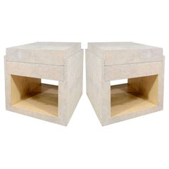 Shagreen Side Tables, Nightstands, Cream, with Two Drawers