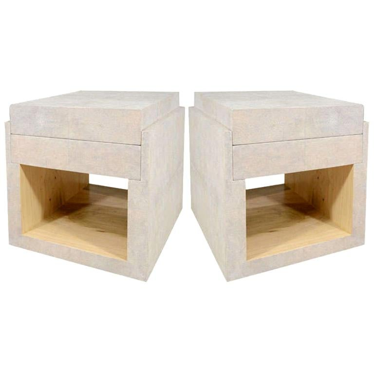 Shagreen Side Tables, Nightstands, Cream, with Two Drawers, in Stock