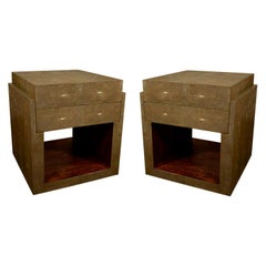Shagreen Side Tables, Nightstands, Khaki or Chocolate Color