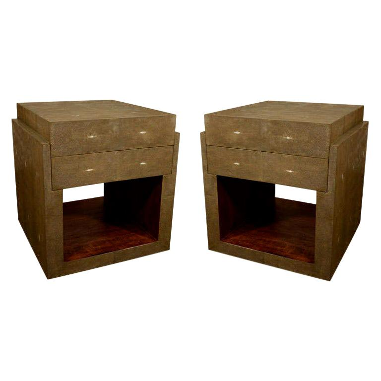 Shagreen Side Tables, Nightstands, Khaki or Chocolate Color For Sale