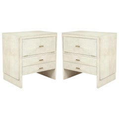Shagreen Side Tables or Nightstands, France, Cream Colored Shagreen