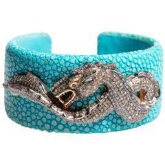 Shagreen 'Sting Ray' Cuff Bracelet with Diamond Dragon
