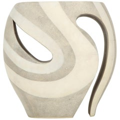 Shagreen Stool, France, Cream and White