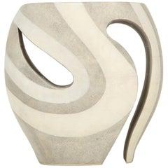 Shagreen Stool, France, Cream and White, Organic Shape