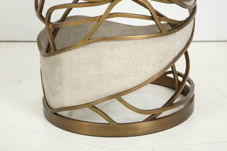 Shagreen Stool or Side Table with Brass Details, Cream Shagreen, Contemporary For Sale 4