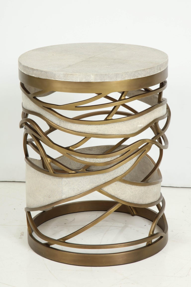 Shagreen Stool or Side Table with Brass Details, Cream Shagreen, Contemporary For Sale 6
