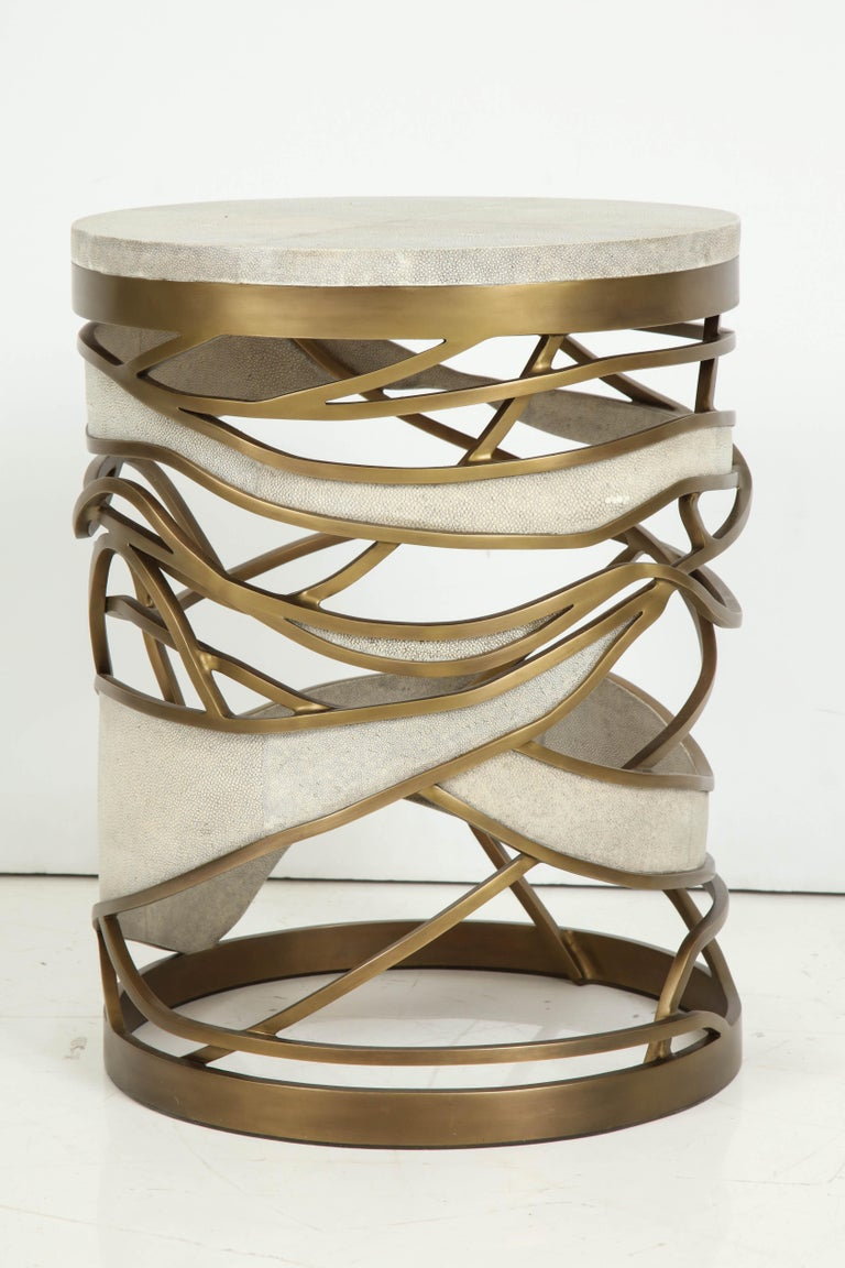 Shagreen Stool or Side Table with Brass Details, Cream Shagreen, Contemporary For Sale 7