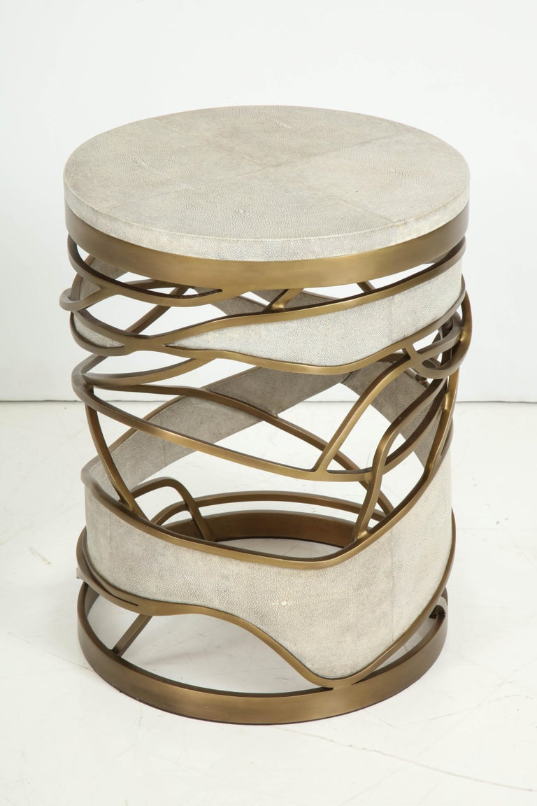 Decorative stool or side table beautifully made of cream shagreen and brass details.  Delivery time 3-3.5 months.
