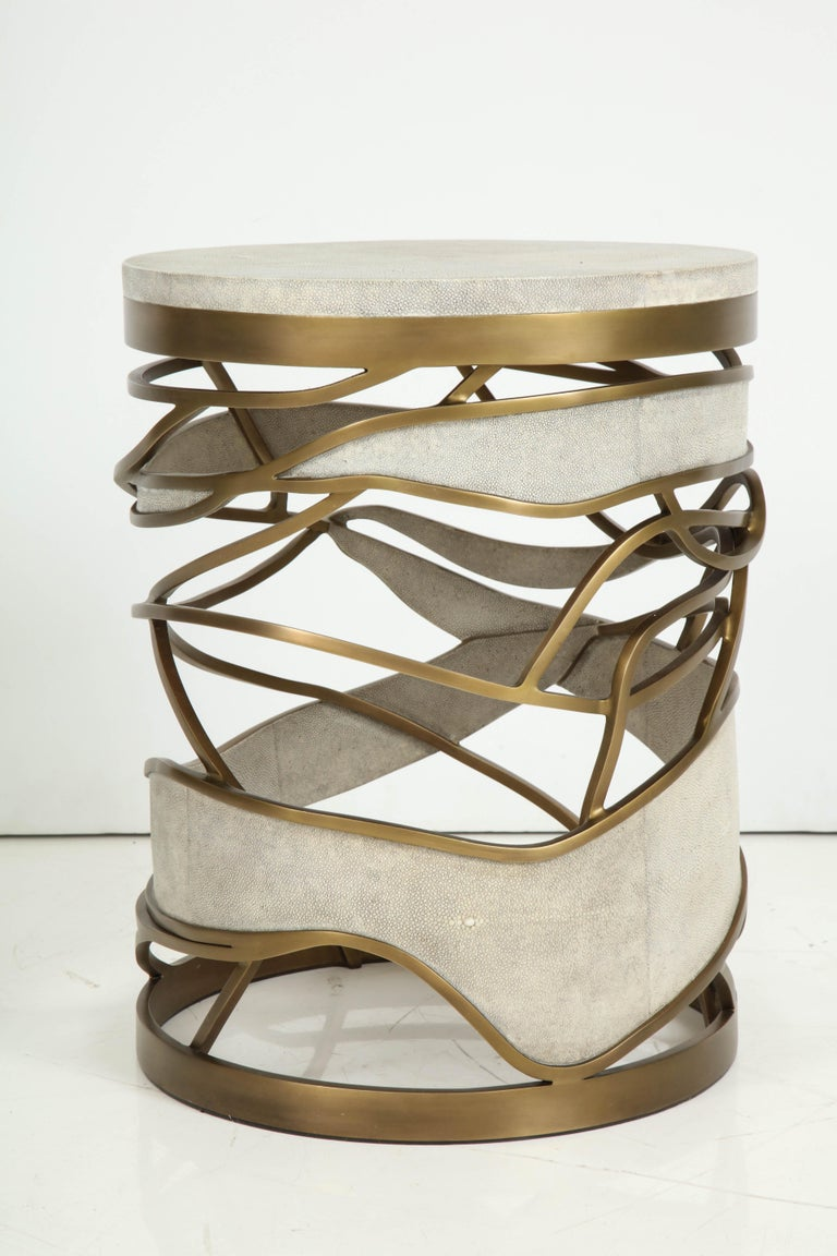 Hand-Crafted Shagreen Stool or Side Table with Brass Details, Cream Shagreen, Contemporary For Sale
