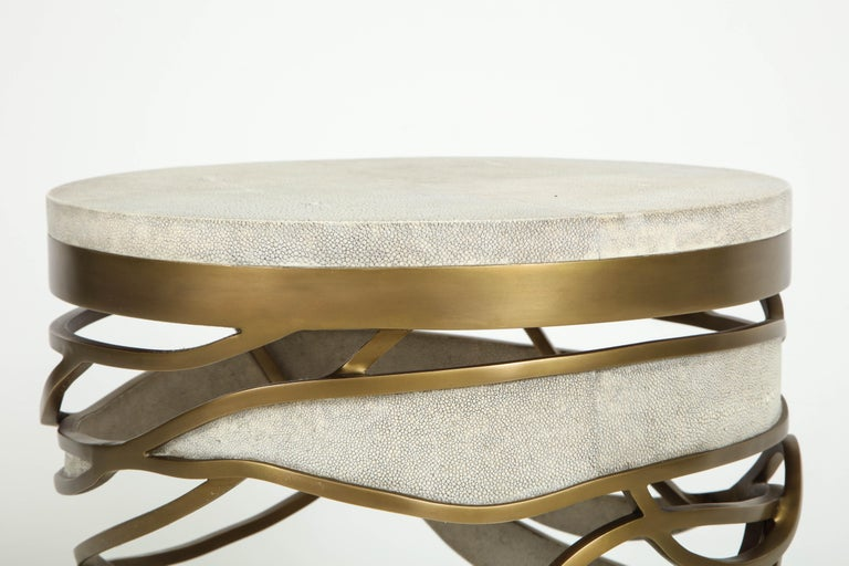 Shagreen Stool or Side Table with Brass Details, Cream Shagreen, Contemporary In New Condition For Sale In New York, NY