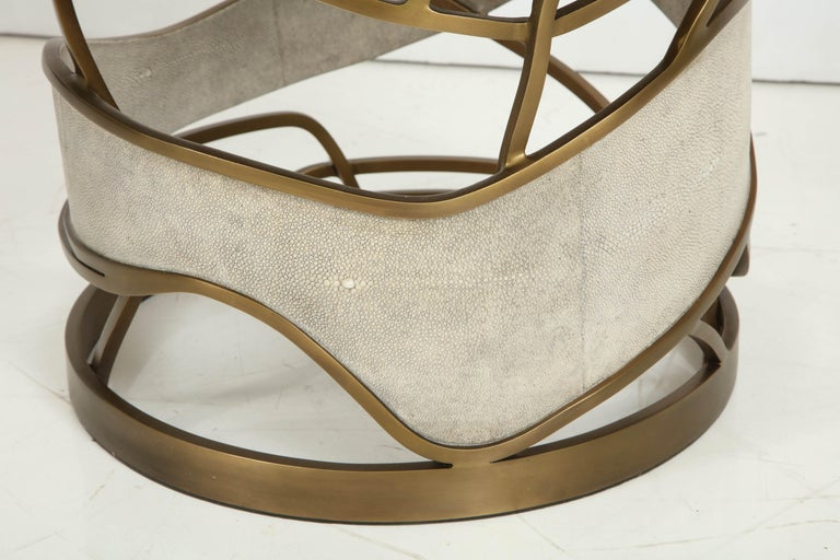 Shagreen Stool or Side Table with Brass Details, Cream Shagreen, Contemporary For Sale 1
