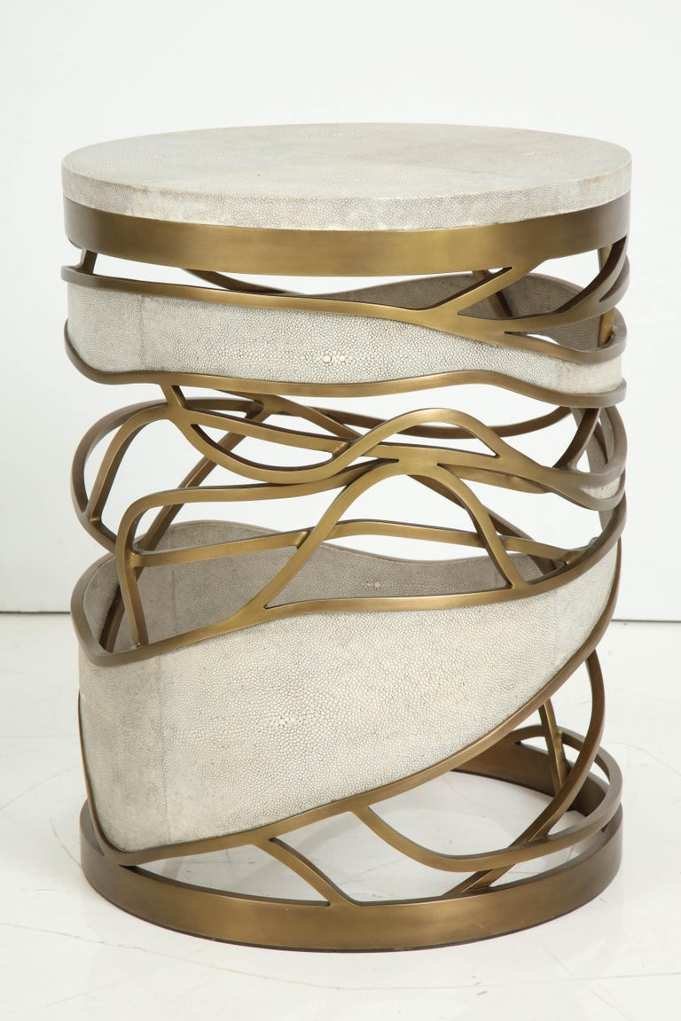 Shagreen Stool or Side Table with Brass Details, Cream Shagreen, Contemporary For Sale 2