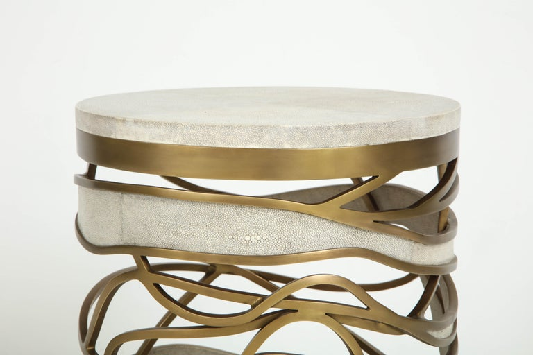 Shagreen Stool or Side Table with Brass Details, Cream Shagreen, Contemporary For Sale 3