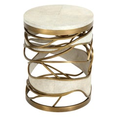 Shagreen Stool or Side Table with Brass Details, Cream Shagreen Color, in Stock