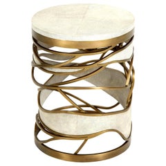 Shagreen Stool or Side Table with Brass Details, Cream Shagreen, in Stock