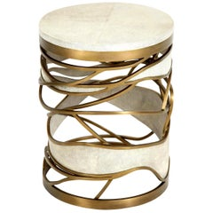 Shagreen Stool or Side Table with Brass Details, Cream Shagreen, Contemporary