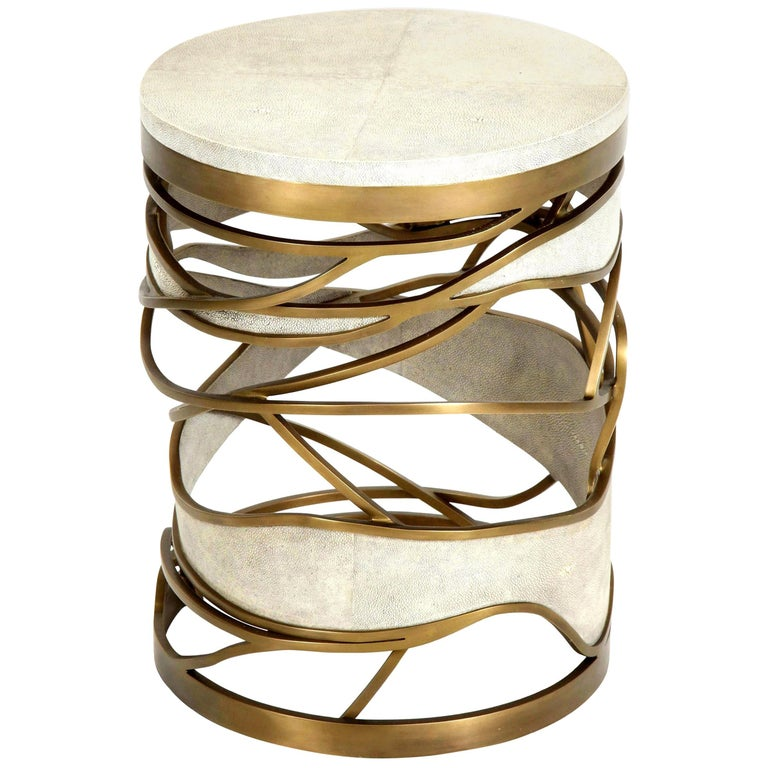 Shagreen Stool or Side Table with Brass Details, Cream Shagreen, Contemporary For Sale