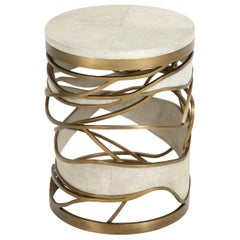 Shagreen Stool or Side Table with Bronze Details